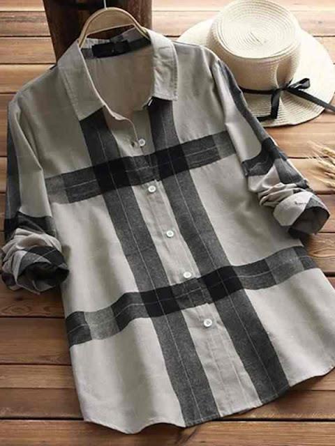 Lapel Patchwork Brief Plaid Long Sleeve Linen Blouse