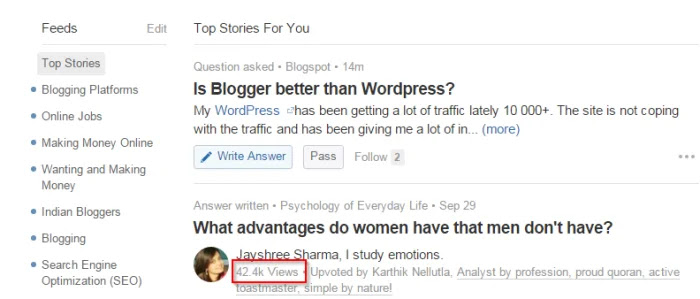 Quora Questions In Your Feeds