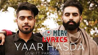 Yaar Hasda By Guri - Lyrics