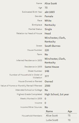 Alice Scott 1940 Census Desperately Seeking Surnames