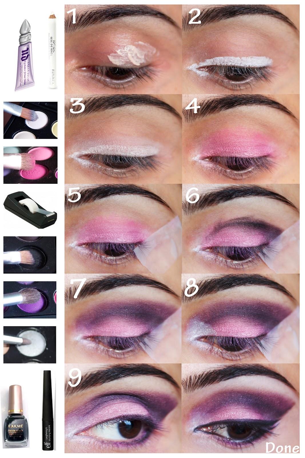 Purple Smokey Eye Makeup Steps Saubhaya Makeup