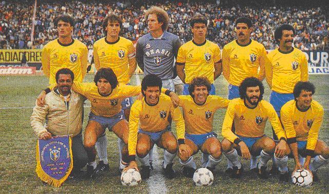 Formación de Brasil ante Chile, amistoso disputado el 8 de junio de 1985