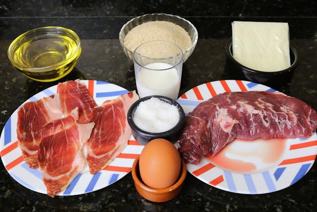 Ingredientes para flamenquines de solomillo de cerdo