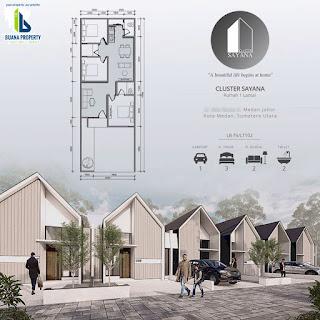 Tipe 75 - Jual Rumah desain kekinian, DISKON 100 Juta, Row jalan komplek 8 meter di Medan Johor - Cluster Sayana