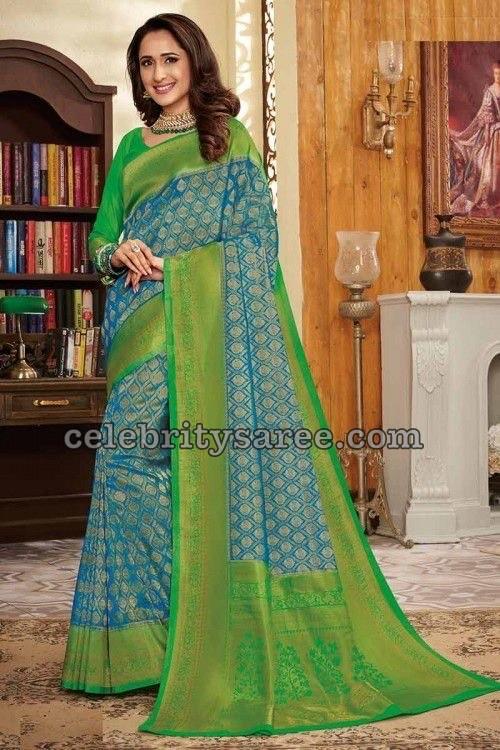 Pragya Jaiswal in Green Silk Saree