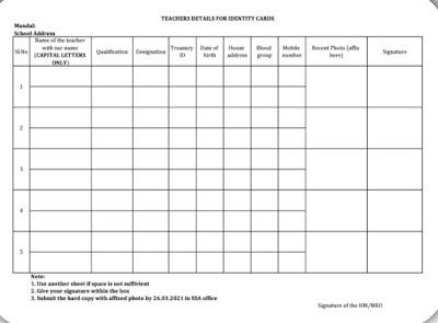 Teachers Details For An Identity Card