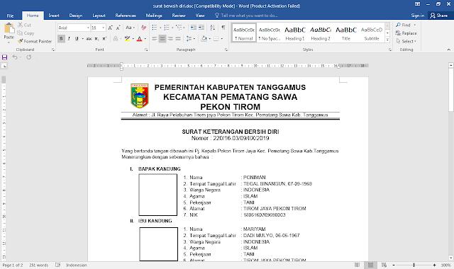 Format Surat Keterangan Bersih Diri (SKBD)