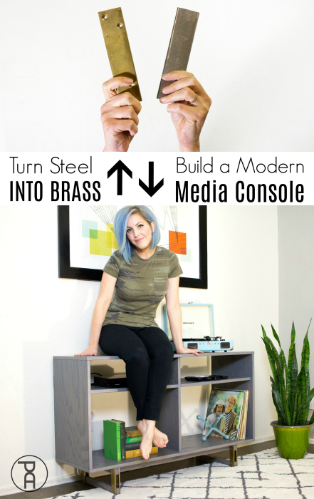 how to video building plans tutorial mid-century modern entertainment media console brass metal legs feet