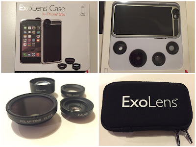 "The ExoLens Case box front, inside, the 4 ""lenses"", and the lenses carry case"