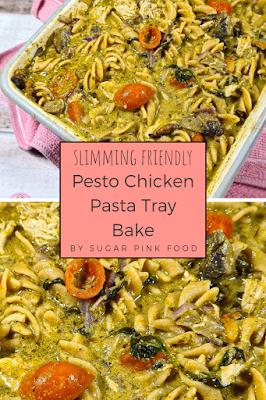 Pesto Chicken Pasta Tray Bake Recipe | Slimming Friendly