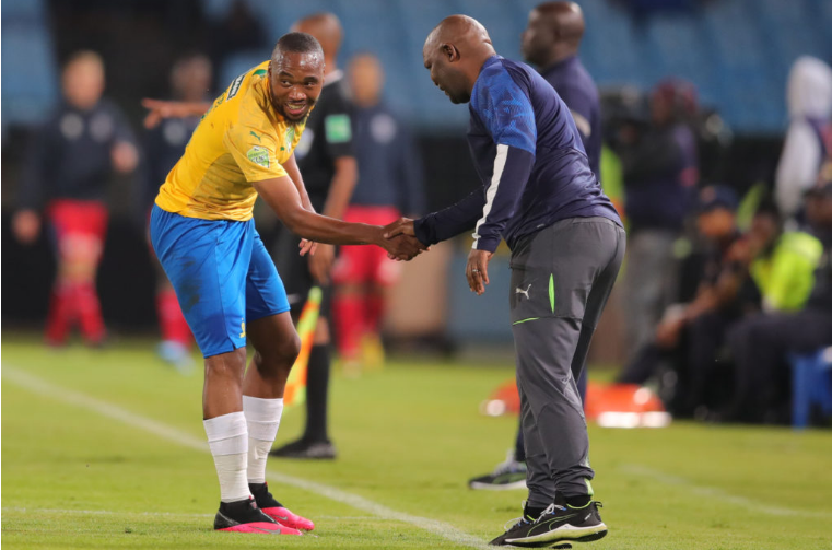 Pitso Mosimane celebrates goal with forward Sibusiso Vilakazi