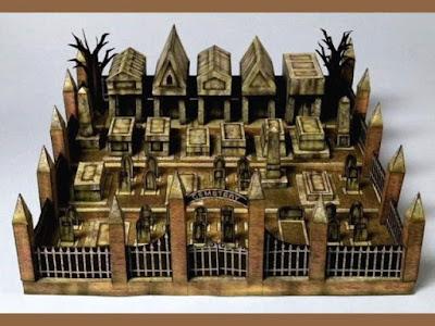 Maqueta 3D recortable de un cementerio. Manualidades a Raudales.
