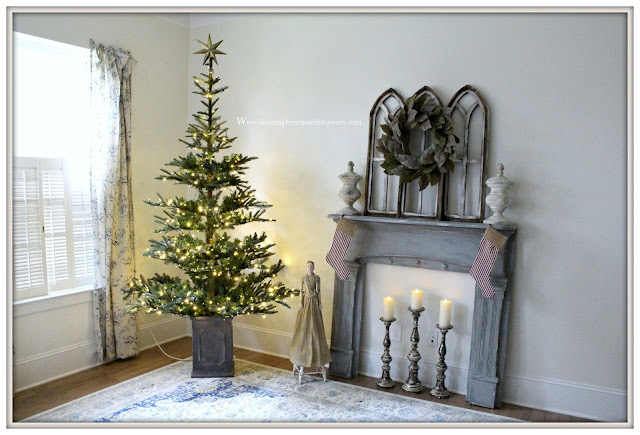 French Country Farmhouse Christmas Bedroom-Christmas Tree-Vintage Fireplace Mantel-Magnolia Wreath-From My Front Porch To Yours