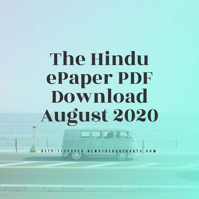 The Hindu ePaper PDF Download August 2020