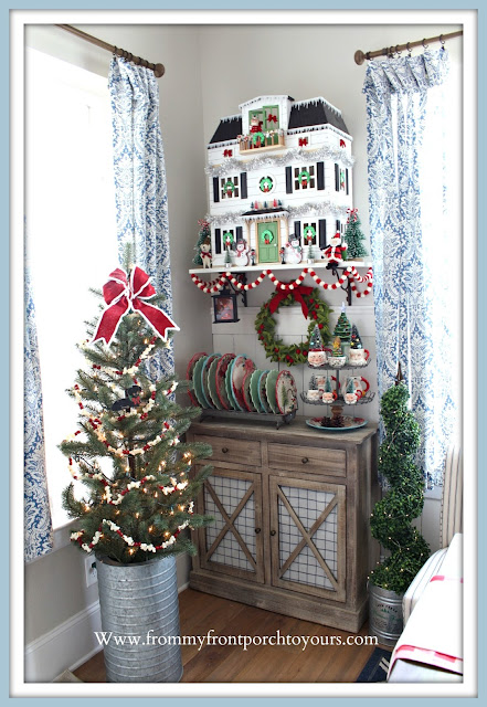 Christmas-Vintage-Style- Farmhouse- Cottage -Breakfast Nook-Hearth & Hand -Doll -House- From My Front Porch To Yours
