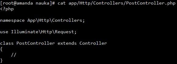 Przykładowy kontroler zasobów Laravel