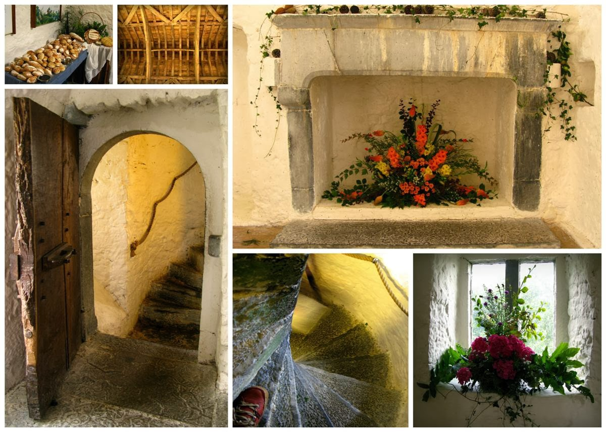 collage with images of stairs and fireplaces and windows in AUGHNANURE CASTLE, Oughterard, Co Galway, Ireland