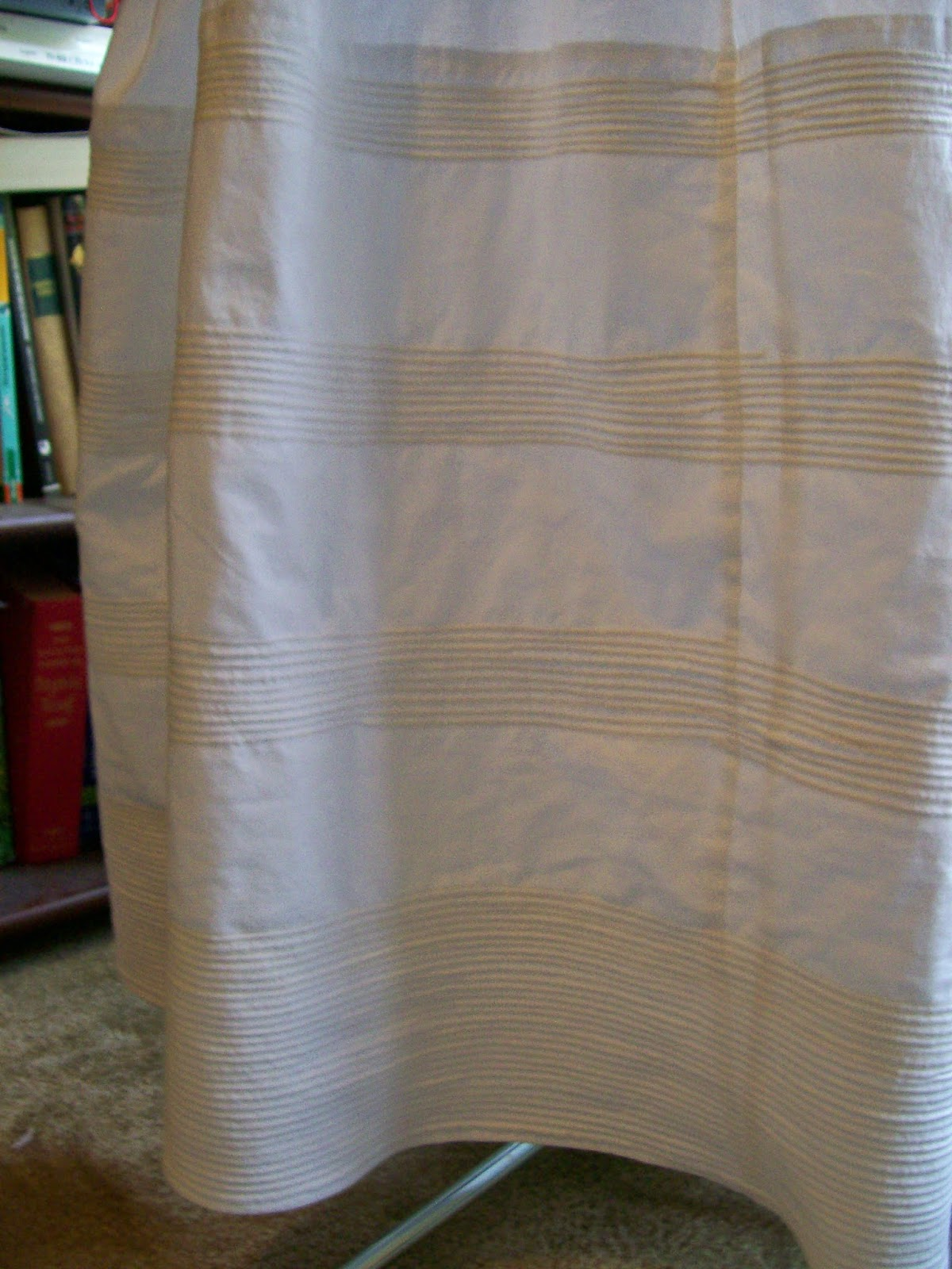 Detail of cording in white cotton petticoat, pre- Civil War.