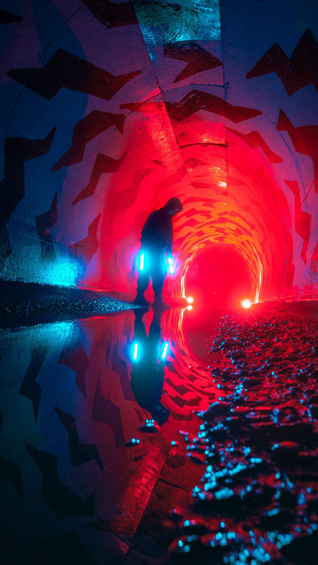 Hd Wallpaper Alone Man Tunnel Neon Light