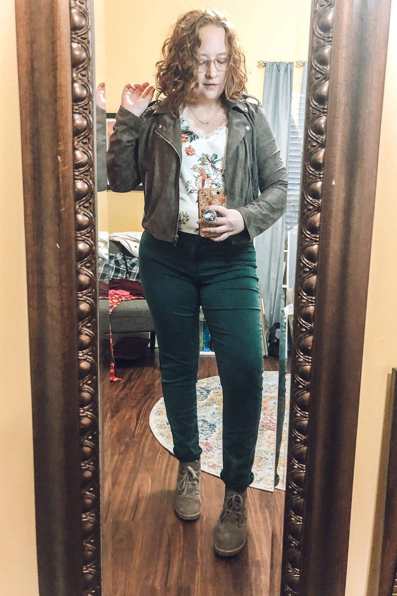 green-pants-floral-tank-taupe-moto-jacket