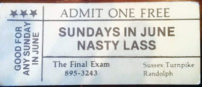 Nasty Lass free pass for The Final Exam rock club