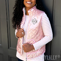 pink metallic vest outfit