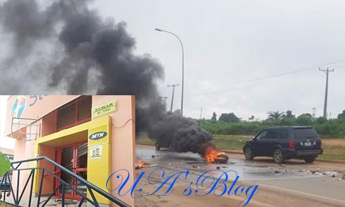 Protesters burn MTN mast in Abuja, surround Shoprite Lugbe over xenophobic attacks
