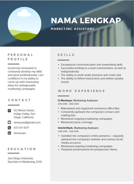 Contoh CV yang simpel dan menarik