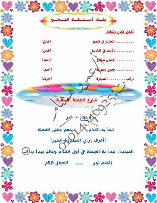 مذكرة لغة عربية للصف الرابع الابتدائى ترم أول 2020 وورد للاستاذ عمرو هشام