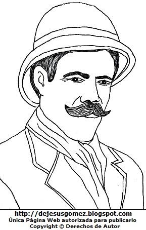 Dibujo de Pancho Villa para niños colorear pintar imprimir. Imagen de Pancho Villa hecho por Jesus Gómez
