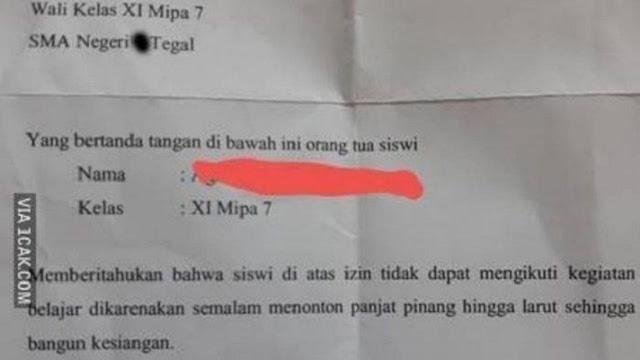 Surat Izin Tidak Masuk Sekolah Viral, Gegara Panjat Pinang