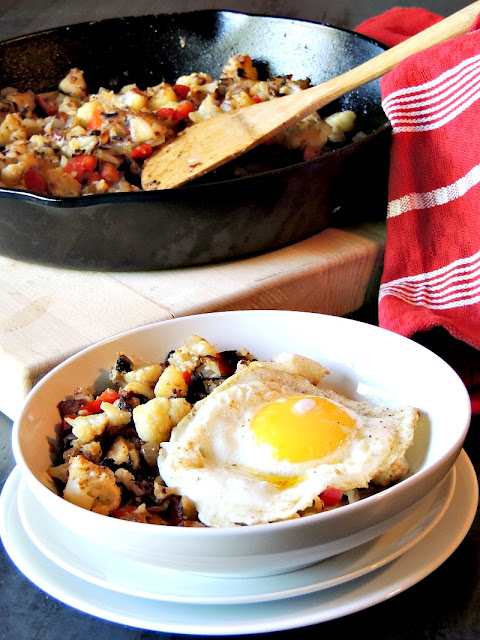 Cauliflower Hash is a delicious, low calorie, healthy, vegetarian or vegan, way to have that standard breakfast hash with zero guilt from www.bobbiskozykitchen.com
