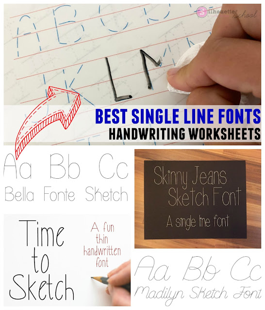 So fontsy, single line fonts, commercial use fonts, sticker paper, silhouette studio for kids
