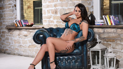Super sultry brunette Mica Martinez showing her tattoos naked in high heels