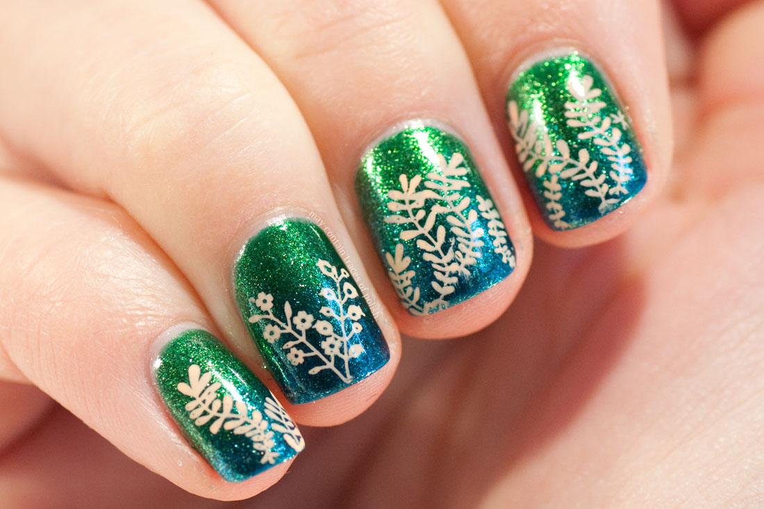 MoYou Enchanted stamping vines on blue and green gradient with KIKO nail polishes