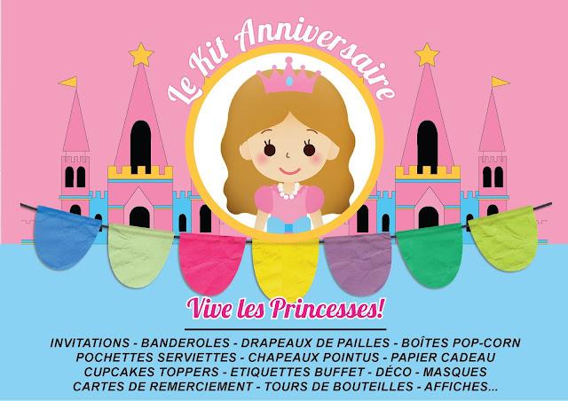 Kit anniversaire personnalisé  déco invitations bar à bonbons princesse fille rose à imprimer tête de coucou