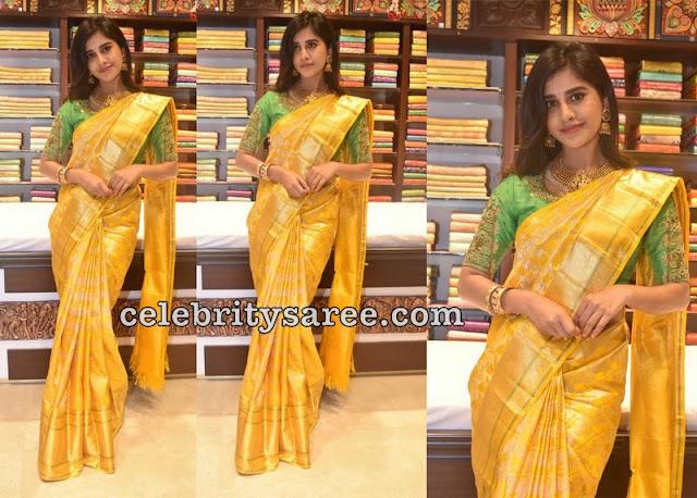 Nabha Natesh Mustard Silk Saree