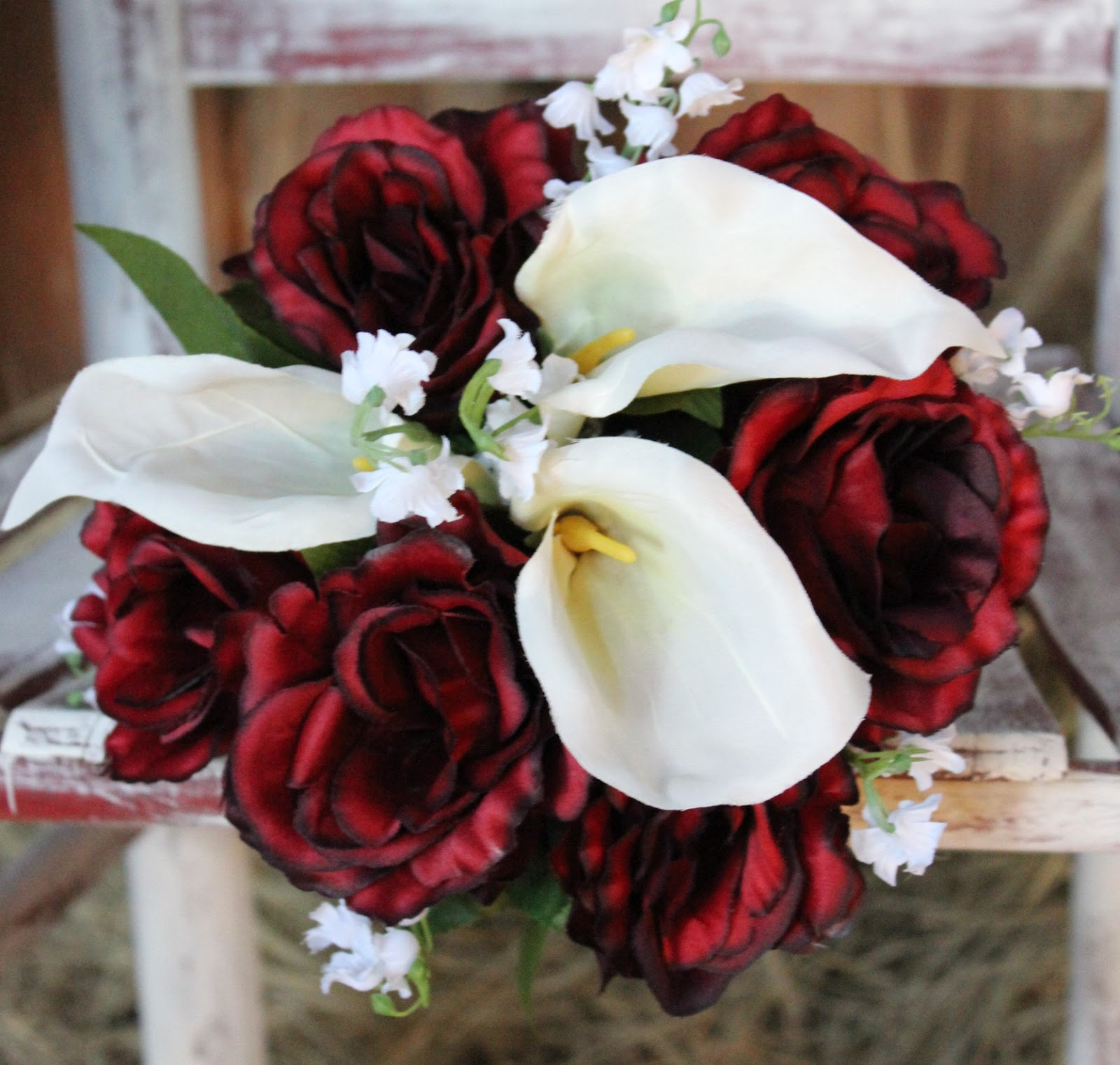 romantic red and white silk bridal bouquet