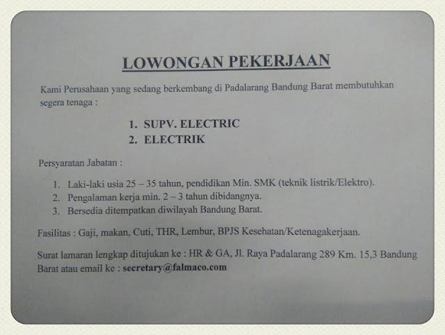 Loker PT. Falmaco Bandung Barat