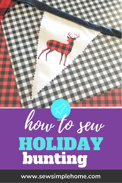 Learn how to make fabric Christmas bunting and add fun holiday cut file accents.
