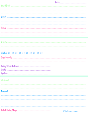 Free Food and Fitness Tracking Journal Printable