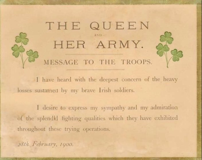 In 1900, Queen Victoria forms the Irish Guards, a foot regiment, to honour the Irishmen who had fought in the Second Boer War.