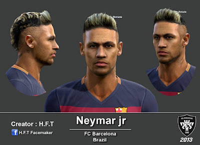 PES 2013 Neymar face & Gold hair by H.F.T