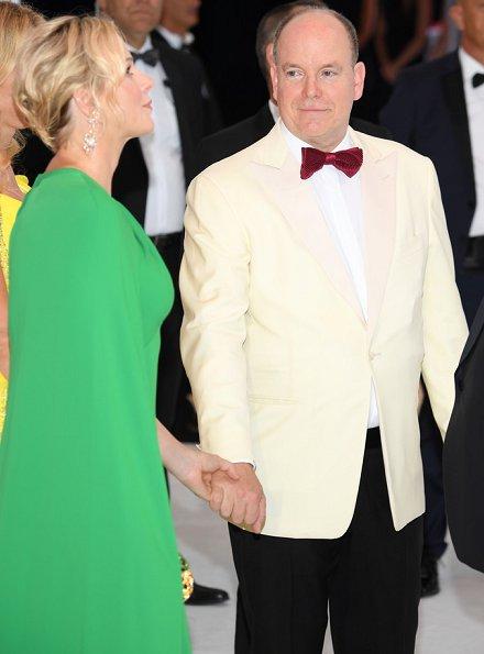 Princess Charlene wore a new green cape effect crepe gown by Marchesa. Princess Charlene wore Marchesa notte green cape effect crepe gown