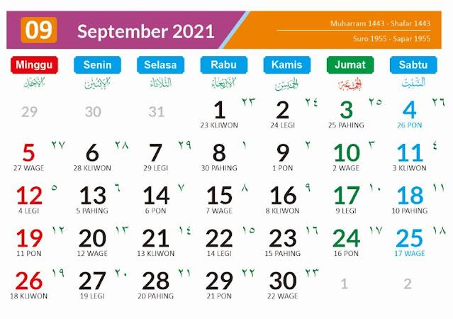 Kalender Bulan September 2021 dan Hari Peringatannya