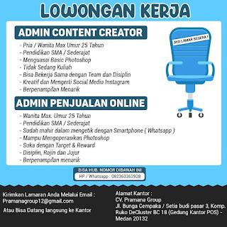Content Creator dan Sales di CV Pramana Group