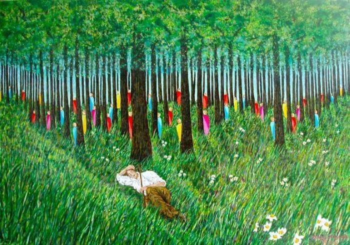 Яркие цветные рисунки в наивном стиле. Andreas C Chrysafis