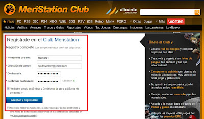 Registrarse en Meristation