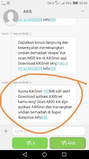 cara mendapatkan kuota gratis axis 100 mb