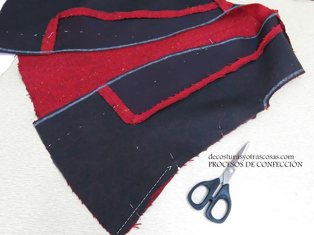 costuras abiertas y planchadas